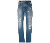 Gerade Distressed-Jeans - women - Baumwolle - 29
