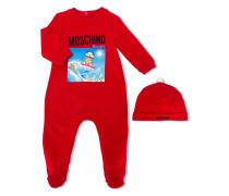 winter teddy print babygrow set