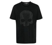 T-Shirt mit Strass-Totenkopf