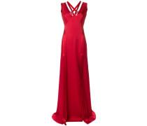 rhinestone v-neck flared gown