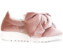 'Flamingo' Samt-Sneakers mit Schleife