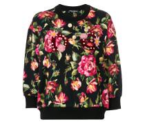 appliqué detail floral sweatshirt
