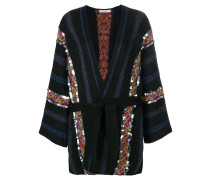 belted striped cardigan