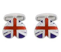 Herzförmige Manschettenknöpfe mit Union Jack-Motiv