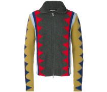 Intarsien-Cardigan mit Zickzackmuster