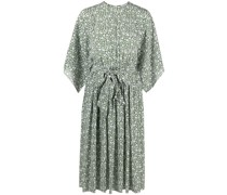 floral-silk flutter-sleeve dress
