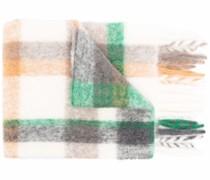 checked tassel-edge scarf
