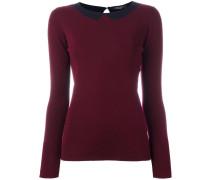 Intarsien-Pullover mit aufgedrucktem Kragen