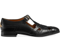 Leather brogue shoe with cut-out detail