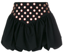 embroidered ruffle basque mini skirt