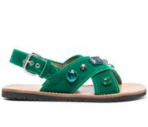 crystal-embellished velvet sandals