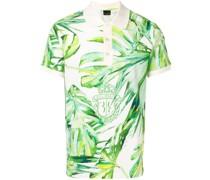 Poloshirt mit Blatt-Print
