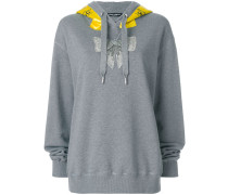 gemstone bow and logo banner hoodie