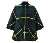 checked cape sleeves jacket