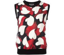 Ärmelloser Pullover mit Herz-Prints