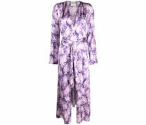 Gewickeltes Kleid mit Blatt-Print