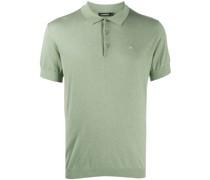 short-sleeved ribbed knit polo shirt