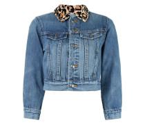 Jeansjacke mit Lepardenkragen