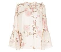 Gerüschte Bluse mit Blumen-Print