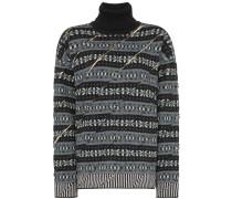 Intarsien-Pullover mit Schlitzen