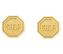 """Statement-Ohrclips mit """"Shop""""-Schriftzug"""