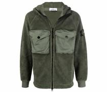 Compass-patch hooded fleece jacket