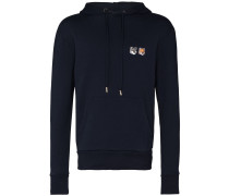 double fox patch cotton hoodie