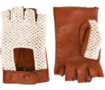 Fingerlose Handschuhe mit Häkeleinsatz