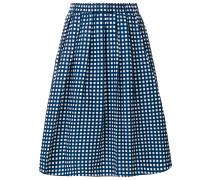 gathered checked midi skirt