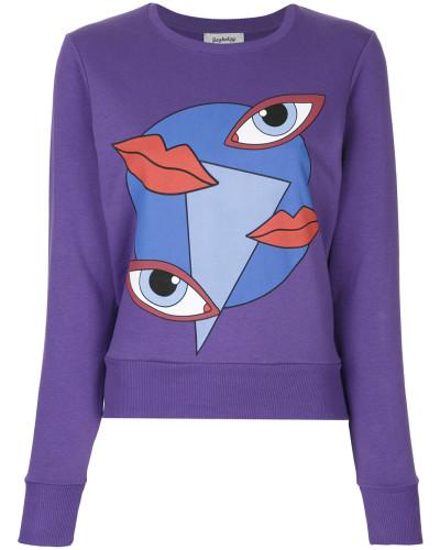 lips and eyes graphic print sweatshirt