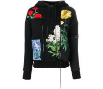 Kapuzenpullover mit floraler Stickerei