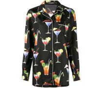 Seidenhemd mit Cocktail-Print