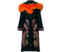 Peacock hooded embroidered coat