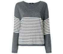 Sweatshirt mit gestreiftem Einsatz