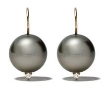 14kt Goldohrringe mit Perle und einem Diamanten
