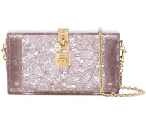 semi-sheer lace print clutch