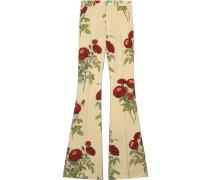 Velvet Rose print flare pants