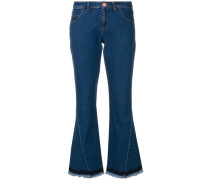 frayed boot-cut cropped jeans