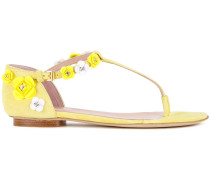 Sandalen mit Blumenapplikationen - women