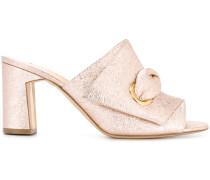 metallic mid-heel mules