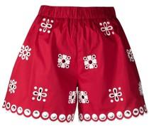 High-Waist-Shorts mit Lochstickerei