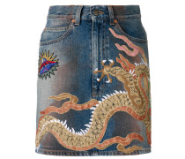 Jeans-Minirock mit Stickerei