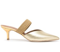 low-heel metallic mules