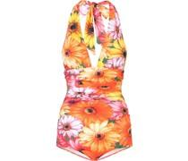 Neckholder-Badeanzug mit Blumen-Print