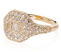 18kt Gelbgold-Siegelring mit Diamanten