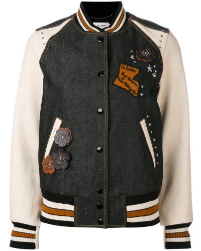 College-Jacke mit floralen Applikationen