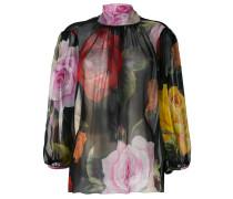 - floral high-neck blouse - women - Seide - 46