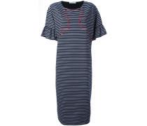 Gestreiftes Kleid mit Stickerei - women