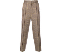 pleated plaid tailored trousers