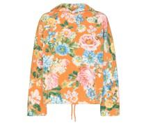 Fleece-Hoodie mit Blumen-Print